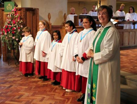 Five choristers received their first RSCM ribbons October 2015
